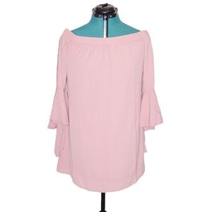 Speechless Blouse Off Shoulder Pink Bell Sleeve S